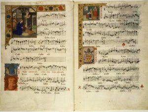 Manuscrit enluminé de la Missa Virgo parens Christi de Jacobus Barbireau