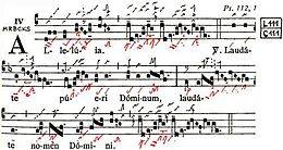 Musical notes for the Laudate Dominum